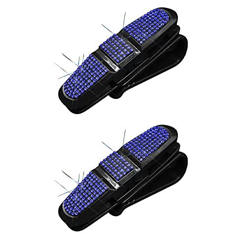Xuptor 2 soportes para gafas de coche con cristales de estrás de cristal, con clips para gafas de coche, color negro y azul