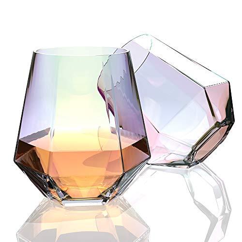 Amesser Whiskey Glasses Old Fashioned 11 - Ounce Set of 2, Lead·Free Handblown Crystal Whisky Tumbler for Bourbon, Scotch, Liquor, Irish, Vodka, Cognac,Wine HW001 (Iridescent)