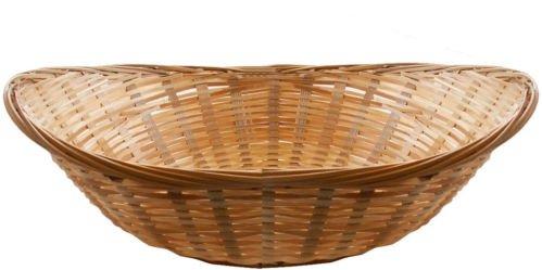 Set Of 8 Vintage Oval Natural Bamboo Wicker Bread Basket Storage Hamper Display Trays