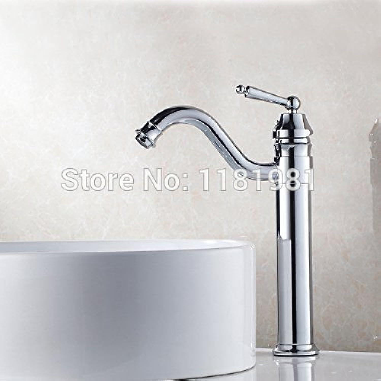 U-Enjoy 12.2  Chrome-Plated Single Top Quality Hole Deck Mounted Ceramic Plate Spool Brass Thin Tall Bathroom Faucet (Free Shipping)