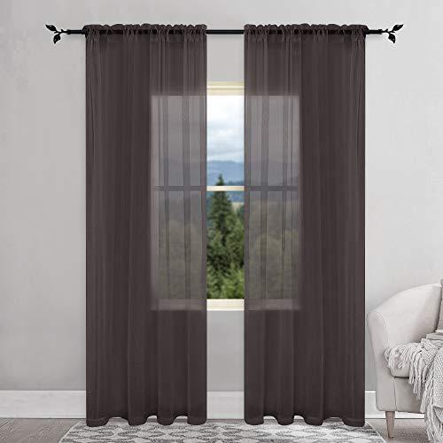 KEQIAOSUOCAI Flame Retardant Sheer Curtains Rod Pocket Sheer Windows Panels for Hospital Office School Nursery 2 Pcs Brown 52x95