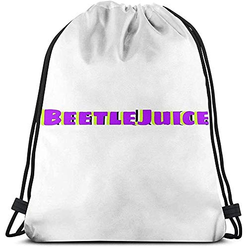 Not Applicable Drawstring Backpack Beetlejuice Tiktok Song Sticker Cinch Bags Mochila con Cordón Laptop Sports Gift Travel Fitness Bag Casual Print Universal School