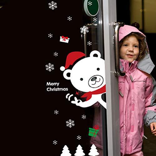 HNLY Weihnachtsaufkleber Weihnachtsschneemann HäNgecharme Weihnachtswandaufkleber Schaufenster Weihnachten Requisiten (2 StüCk) 60 * 90Cm