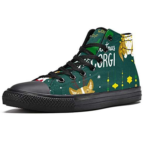 Anmarco Navidad Lindo Corgi Perros High Top Zapatillas de deporte de moda con cordones zapatos de lona casual escuela caminar zapatos para hombres adolescentes niños, color Multicolor, talla 42 2/3 EU