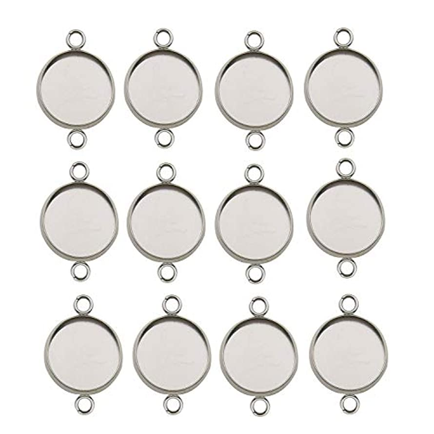 40pcs 14mm Stainless Steel Round Blank Bezel Pendant Connector Trays Base Cabochon Settings Trays Pendant Blanks Links for Jewelry Making DIY Findings (9845)