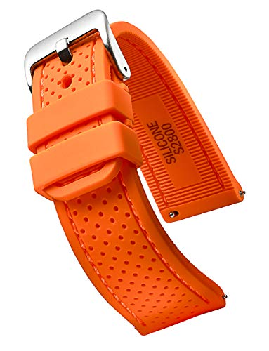 ALPINE Premium quality waterproof silicone watch band strap with quick release - Soft rubber orange watch band 24mm