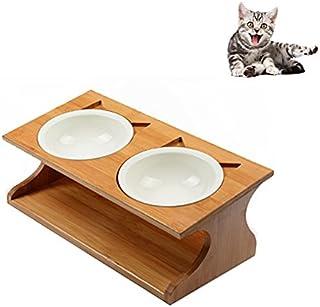 Petacc 猫 食器 スタンド 陶器 小型犬えさ皿 食台 猫用フード 水 ボウル (35*17.5*12cm)