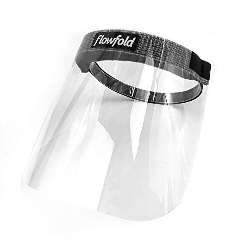 100-Pack Flowfold Face Shields for Business, Protective Shields for Restaurant Workers & Food Service, Clear Plastic Face Shields for Teachers, Cashiers, Drivers - Made in USA (100, One Size)