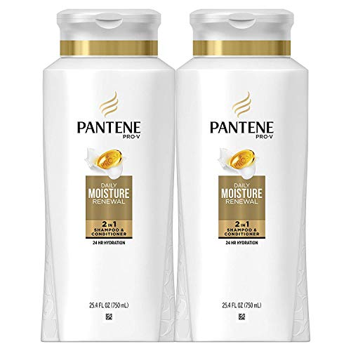 Pantene, Shampoo and Conditioner 2 in 1, Pro-V Daily Moisture Renewal for Dry Hair, 25.4 Fl Oz,...