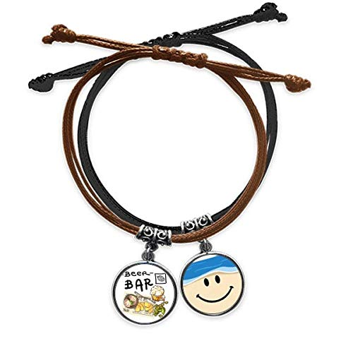 Steak Bar France Toast Beer Bracelet Rope Hand Chain Leather Smiling Face Wristband