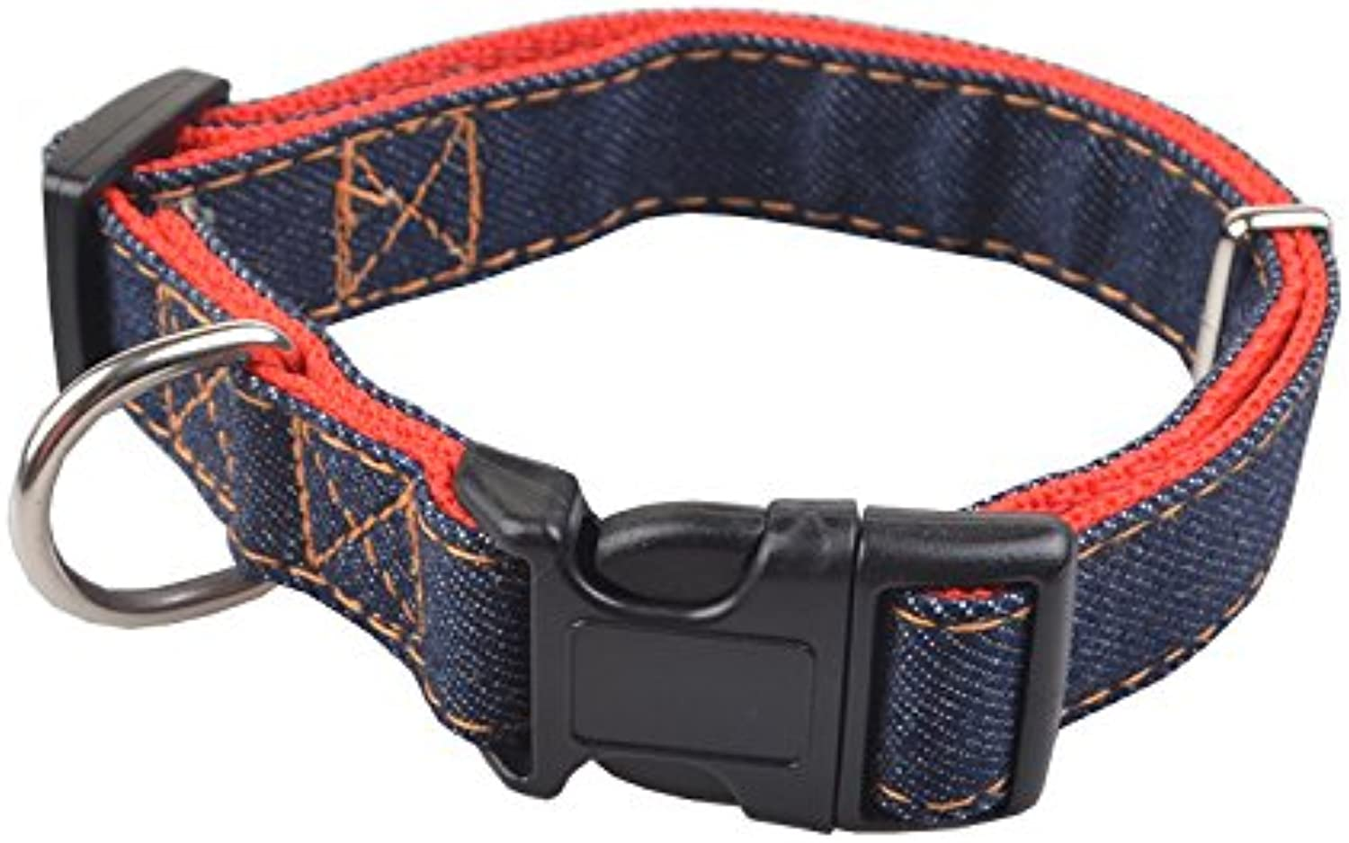 Pet Online Pet Collar Denim Large Medium and Small Dog Collar,red,1.5×2844cm