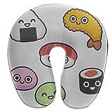 Almohada de Viaje Comida Japonesa Cocina Arroz Sushi U en Forma de Memoria Almohada de Cuello de Espuma Protector de Cabeza Cojín de Apoyo Almohada de Viaje Cervical Almohada de Cuello en U para bebé