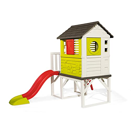 Smoby Kids Playhouse on Stilts with Slide | Strong and Durable Wendy House, Suitable for Outdoor and Garden Use
