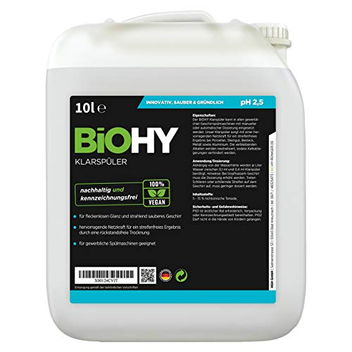 BiOHY Klarspüler (10l Kanister) | Ökologisches Hochkonzentrat | Geeignet für alle (gewerblichen) Spülmaschinen, für unschlagbaren Glanz auf Gläsern & Geschirr | BiO-logisch abbaubar