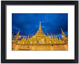 Media Storehouse Framed 20x16 Print of Shwedagon Pagoda Before Sunrise, Yangon, Myanmar (14610540)