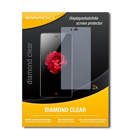 SWIDO 2 x Bildschirmschutzfolie ZTE Nubia Z9 Max Schutzfolie Folie DiamondClear unsichtbar