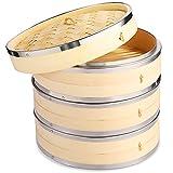 Vobeiy Vaporiera Bamboo 3 Livelli,Premium Naturale bambù Cestello per Cottura a Vapore con Strisce...
