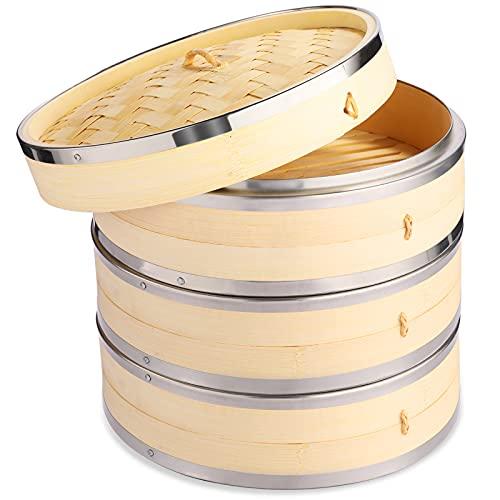 Vobeiy Vaporiera Bamboo 3 Livelli,Premium Naturale bambù Cestello per Cottura a Vapore con Strisce in Acciaio Inox,Artigianato Tradizionale su Misura per Dieta Sana,27CM