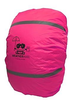 Weatherman Housse de pluie imperméable pour cartable et sac à dos Couleur repérable Avec cordon élastique Revêtement anti-pluie pour la sécurité, rose bonbon (Rose) - .