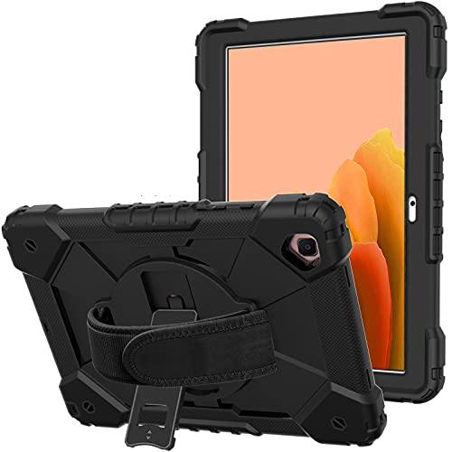 Fonrest Funda resistente con función atril para Samsung Galaxy Tab A7 10.4 (SM-T500/T505/T507) 2020, funda híbrida a prueba de golpes con agarre giratorio de 360°, correa de hombro (negro)