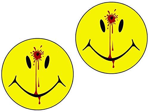 2 Set Smiley Face Dead Head Shot Bullet Hole Guns Blood Printed 5 Inch Sticker Decal Die Cut Sticker Graphic - Car Sticker Laptop Sticker