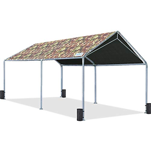 Quictent 10'X20' Upgraded Heavy Duty Carport Car Canopy Boat Shelter Tent with Reinforced Steel Cables-Camo