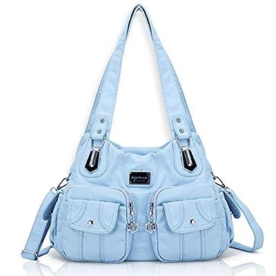 Angel Barcelo Women Top Handle Satchel Handbags Shoulder Bag Messenger Tote Washed Leather Purse Light Blue