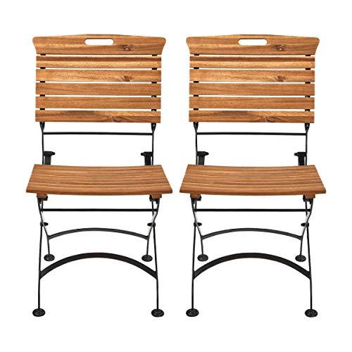 Butlers Garden State Klappbarer Gartenstuhl 2er Set in Braun - Klappbare Stühle und Tisch aus FSC-Holz
