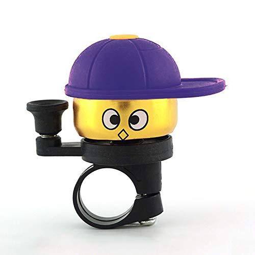 LZWOZ Hat Cartoon schattige mini Crisp Loud fiets bel Clip Op stuur Fietsen Kleine Speaker Sound Timbre Bicicleta Bike Accessoires (Color : Purple)