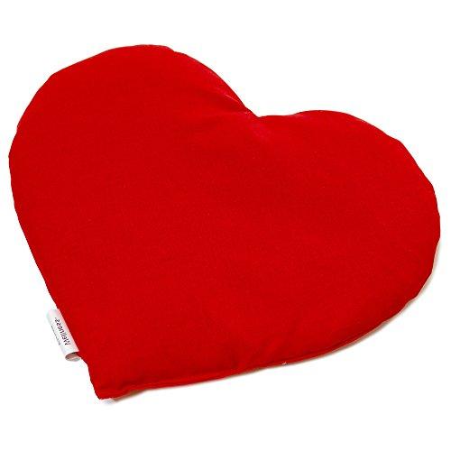 Kirschkernkissen Herz ca. 30x25cm - Bio Stoff rot - Wärmekissen - Körnerkissen für Mikrowelle und Backofen