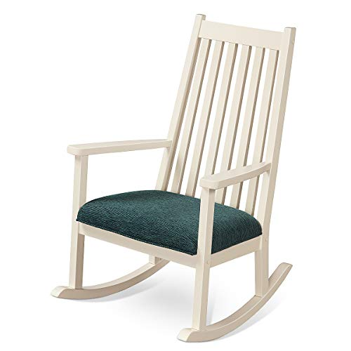 Giantex Rocking Chair W/Seat Cushion Outdoor&Indoor Porch Rocker for Garden, Patio, Balcony, Backyard Wooden Rocker (1, White)