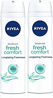 Nivea Fresh Comfort Long lasting Freshness 48h Deodorant Spray 150 mL ( Pack of 2 ) With Free Ayur Soap