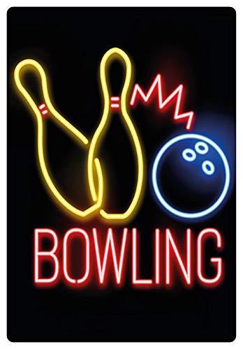 Blechschild 20x30cm gewölbt Bowling Pins Neon Style Bar Deko Geschenk Schild Party Deko Geschenk Schild