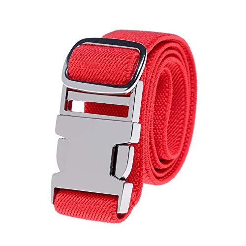 Kinder elastische Schnalle Hose Gürtel - Stretch Gürtel mit Zinklegierung Schnalle verstellbarer Gürtel für Jungen Mädchen Easy Clasp Gürtel (Heißes Rot)