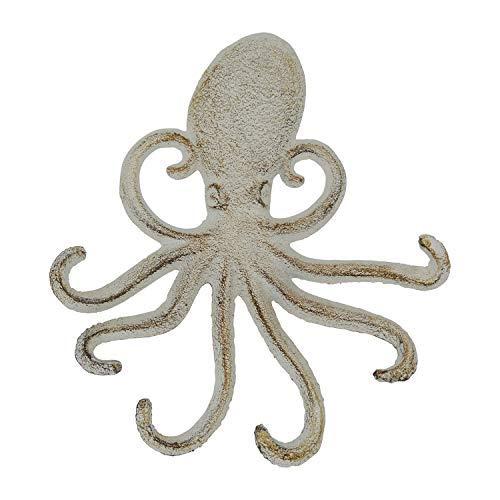 Comfify Gancho de Pared de Hierro Fundido Octopus - Tentáculos de Pulpo Decorativos para la Entrada, la Puerta o el baño - Novedosa decoración de Pared - Color Blanco con Tornillos y Anclas incluidos