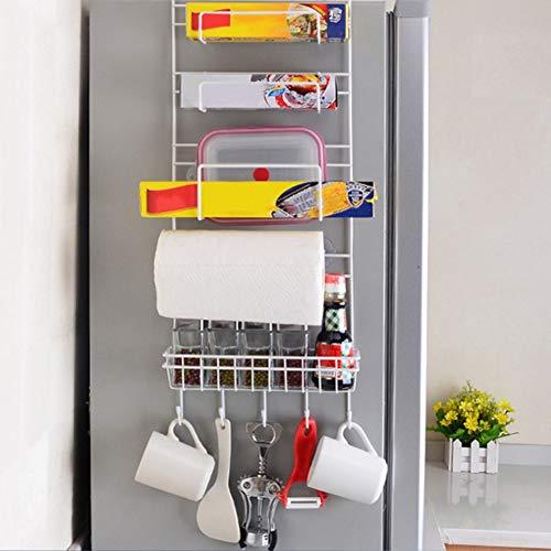 Estante lateral refrigerador, estante colgar en la nevera, soporte almacenamiento pared lateral, soporte frascos especias, rollo papel de seda, organizador de cocina y baño (blanco-25x9.5x65 cm)