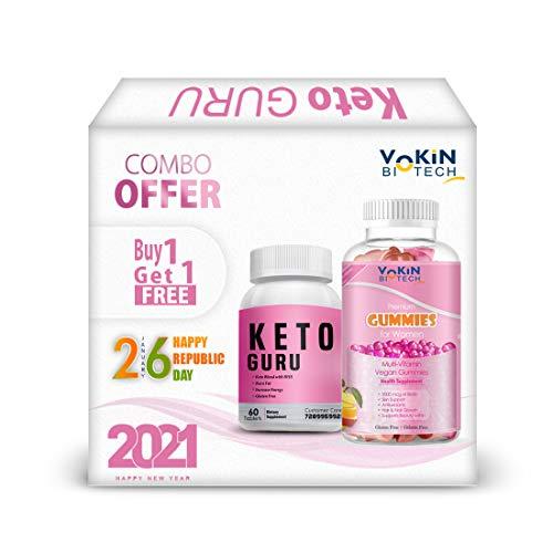 Vokin Biotech Keto Guru 60 Tablets for weight loss with Multivitamin gummies Free