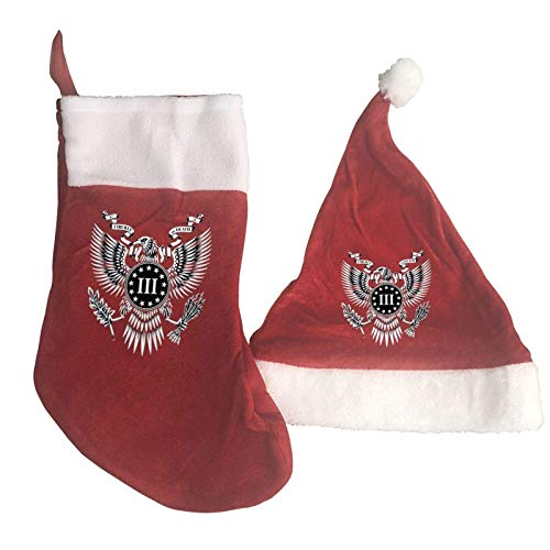 LQAZD Proud American Infidel in God We Trust Patriotic Fashion Christmas Stocking and Christmas Hat Christmas Party Decorations Socks