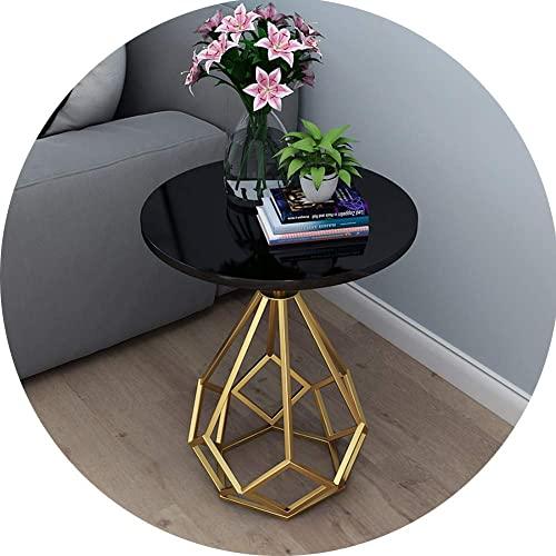 hyywmgx Tavolino Rotondo in Marmo Nordico Mini tavolino da Salotto Tavolino da Salotto in Ferro battuto Dorato Tavolino da caffè da Balcone,50 × 62 cm (Colore: Nero)