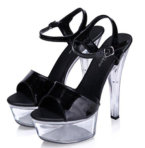wexe.com MNII Schuhe High Heels Kristall Straps Wasserdichte Plattform Sandalen, 43, Red- Stilvoll und Schön