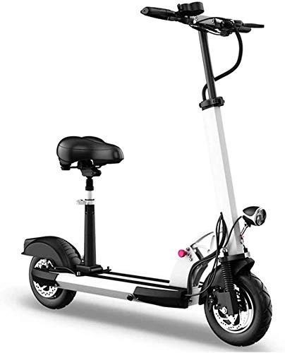 Patinetes electricos adultos Deslizándose Movimiento fácil de llevar con plegable 10 pulgadas Equilibrio Scooter eléctrico con asiento for adultos 1000W Motor E-Scooter con luz LED y pantalla de alta