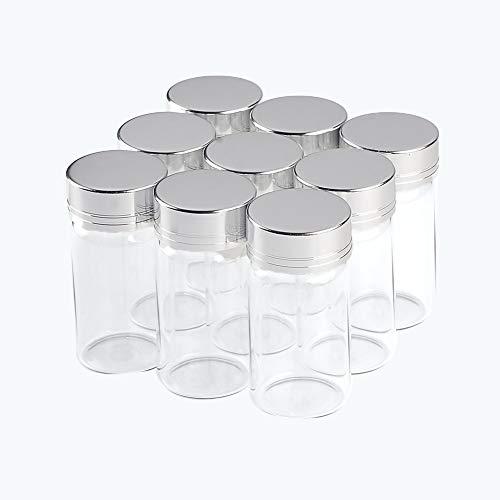 Jarvials - 24 botellas de cristal de 25 ml - La botella de cristal es transparente, la tapa es de aluminio plateado, es muy bonita (25 ml, plateada)