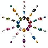 PandaHall Elite 80 Piezas de acrílico cosen en Rhinestone Tallado Flatback Crystal Botones Gemas 4 Estilos para la Ropa Vestido de Boda decoración Colores Mezclados