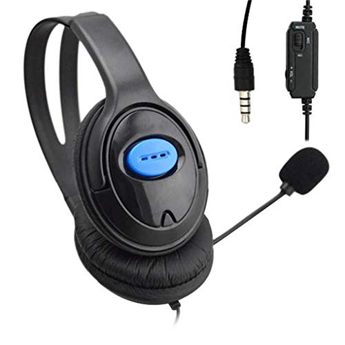Flushzing Reemplazo para PS4 / Ordenador PC Headset 3.5mm Grande Negro con conexión de Cable del micrófono del Juego Auriculares Gaming