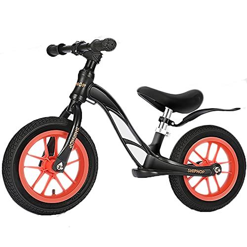 Bicicleta Sin Pedales Bicicletas de equilibrio para niños de 3 años, neumáticos de aire de 12 pulgadas negros con asiento ajustable, bicicletas negras sin pedal para niños / regalo de cumpleaños de Gr