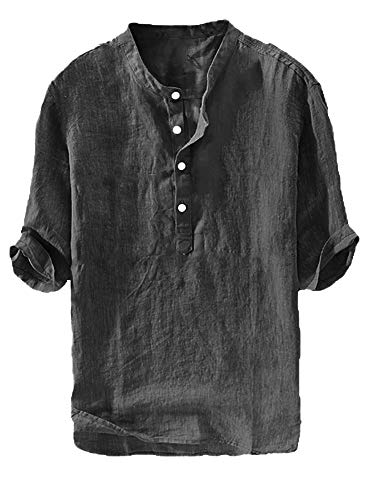 Mens Linen Henley Shirt Casual 3/4 Sleeve T Shirt Pullover Tees V Neck Curved Hem Cotton Shirts Beach Tops (X-Large, C-Black)