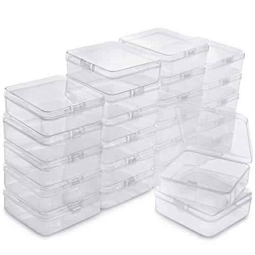 BELLE VOUS Caja Plástico Almacenamiento (Pack de 24) - (8,3 x 8,3 x 2,8 cm) - Cajas de Ordenacion Plástico Transparente - Caja de Almacenamiento Cuadrada para Abalorios, Joyas, Hallazgos Relojes