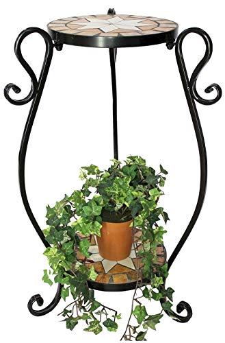 DanDiBo Blumenhocker Mosaik Rund 61 cm Blumenständer 12019 Beistelltisch Pflanzenständer Mosaiktisch