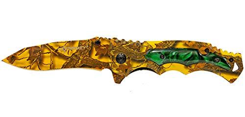 Elfmonkey Klappmesser extra Scharf Gelb mit einem schönen verzierten Griff, Rettungsmesser Taschenmesser Messer Einhandmesser Angelmesser Jagdmesser Survival Outdoor