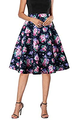 Meiyitong Clothing Womens Vintage Floral A-Line Midi Skirt Polka Dot Swing Casual Party Skirts